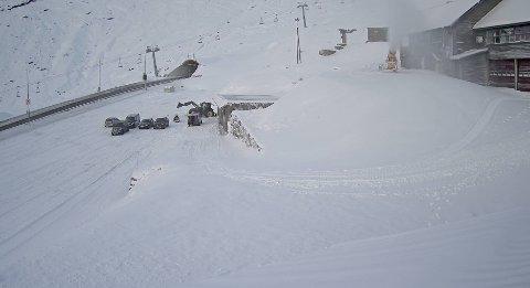 Snø: Slik ser det ut i Håradalen torsdag morgen.