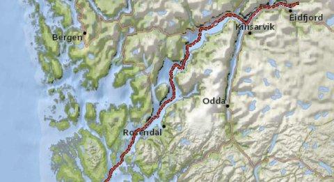Kart: Selskapet Northconnect har planar om ein straumkabel frå Simadal i Eidfjord, ut Hardangerfjorden og vidare til Skottland. Illustrasjon: Northconnect