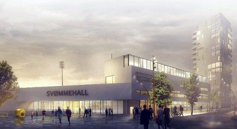 SLIK KAN DET BLI: Haugesund stadion kjemper om å få den nye svømmehallen, og kan fort bli hjemmebanen til både fotball og svømming.