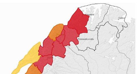 Rød markering indikerer stor fare for snøskred. Slik var kartet til Vaarsom.no mandag kveld i 20:30-tida.