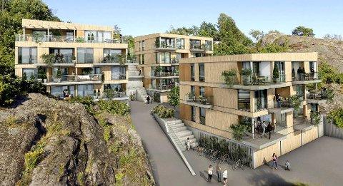 Eikvika Terrasse er omregulert fra 31 til 17 leiligheter.