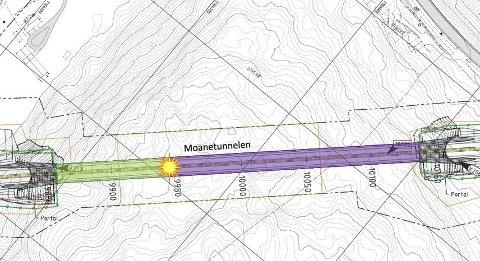 MOANETUNNELEN: Entreprenøren har nå sprengt seg omtrent 87 meter innover i fjellet. Tegning: Statens vegvesen