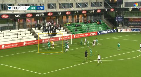 CORNER ER MÅL: Kristoffer Nessø skrudde like godt et hjørnespark rett i mål. Dermed endte det med poengdeling mellom Sogndal og HamKam.