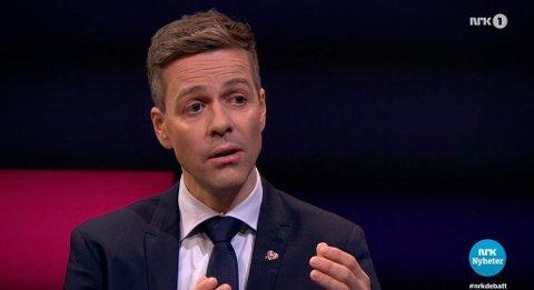 DEBATTEN: Knut Arild Hareide gjestet NRK-programmet Debatten fredag kveld. Foto: Skjermdump NRK