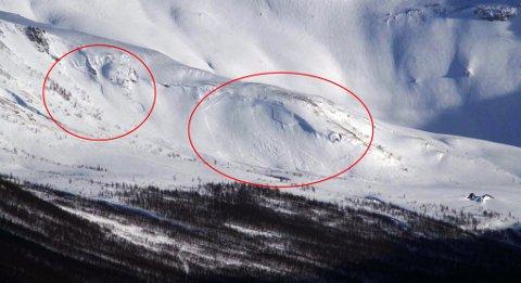 ser man at det har gått to snøskred i fjellsida bak Folkehjelpshytta i Tromsdalen. Foto: Nordlys-tipser