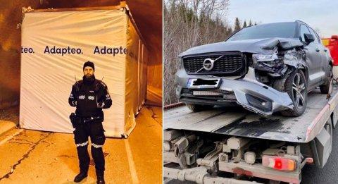 Det ble likevel store skader og bilen måtte berges fra stedet. Foto: Morten I. Jensen