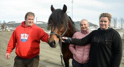 Viking Faks har gjort enda et utrolig comeback på travbanen. Sist helg vant den et storløp i Sverige. Her sammen med eier Thor Håvard Øverstad, Berit Nordhagen Øverstad og Bente Bekkelund.