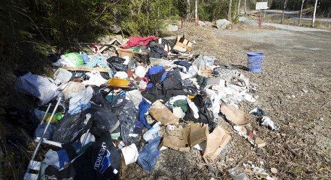 SØPPELHAUG: Søppelet på parkeringen ved Paddetjern har ligget der siden rett etter nyttår. Nå sørger Ski kommune for at det blir ryddet. FOTO: BJØRN V. SANDNESS