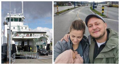 TILBAKE: Aina Wik Ebbesen og Otto Stormyr var mandag tilbake på ferjekaien på Tjøtta på vei hjem til Brønnøysund. Da med et ekstra familiemedlem i armene.