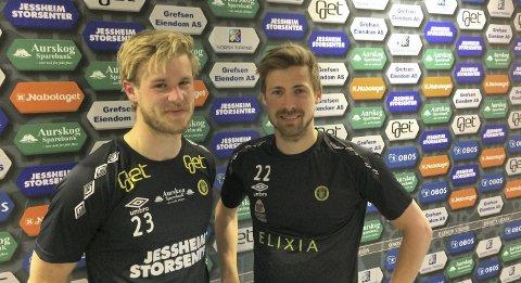 GODE RELASJON: Mats-André Kaland (t.v.) og Nicolay Solberg mener vennskapet utenfor banen er viktig for den gode relasjonen på banen. FOTO: Håvard Sæle