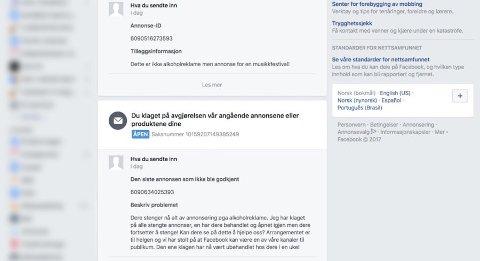 BLE STOPPET: Facebook har stoppet de aller fleste av Fjordfestens annonser. (Foto: Skjermdump)