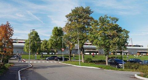 HØRING OVER: I april/mai har Bane NOR besvart alle innspillene for InterCity. Her ses stasjonen ved SVGS  i Torp Vest-korridoren. (Illustrasjon: Bane NOR)