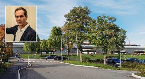 INTERCITY: Kommuneplanlegger for areal David Bakke Haugen i Sandefjord kommune håper og tror jernbanedirektoratets beslutning ikke vil ha for store konsekvenser for Sandefjord. Illustrasjon er stasjonen ved SVGS i Torp Vest-korridoren