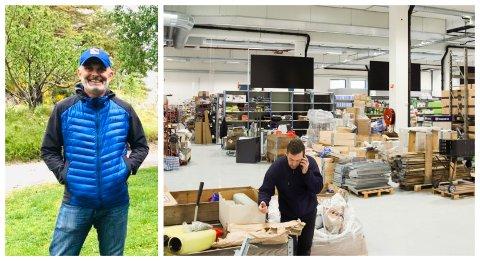 HELDT FOR NARR: Styreleiar i Lundetun Velforening, Bjørn Benoni Brodal (til venstre), føler seg lurt etter at han drog for å handle ein robotklippar til sameiget sitt hjå Bøndenes Innkjøpslag. Dagleg leiar Alf Minde til høgre.
