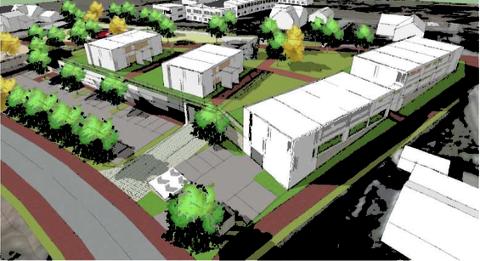 Slik skal de nye blokkene og butikken på Myklebust se ut.