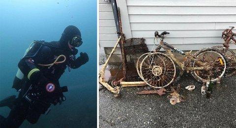 TAR DET OPP: Geir-Magne Leirflåt har gjort mange funn under vann ved den gamle ferjekaien på Tau. Han føler et ansvar for å plukke det med seg, når han oppdager søppel som dette.