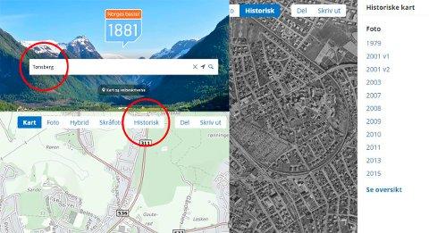 SLIK GJØR DU: Ringene i bildemontasjen viser hvordan du finner fram til eldre kart og bilder (listen til høyre). Her finner du eksempler på andre kart og eldre foto fra andre steder i Norge også.