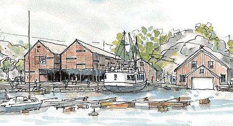 Slik blir det: Arbeidet med å oppføre kystkultursenteret starter i august, og skal stå ferdig sommeren 2018. tegning: Kim Skaara