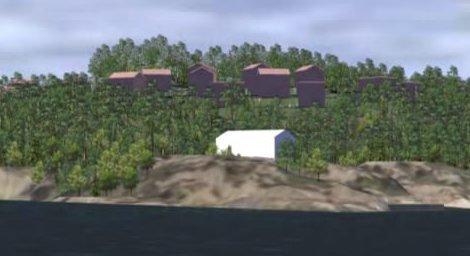 Det er laget en 3D-illustrasjon for området, som skal vise hvordan hyttene plasseres i terrenget. Her har Tvedestrand Vekst blant annet redusert høyden på de tre mest eksponerte hyttene med tre meter.