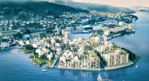 Slik ser Marin Eiendomsutvikling AS for seg Laksevåg verft etter transformasjonen.