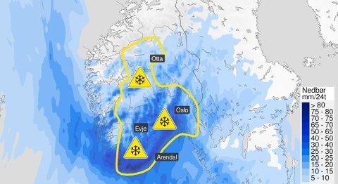 GULT FAREVARSEL: Fra onsdag blir det store nedbørsmengder, med snø i indre og høyreliggende strøk – og etterhvert regn i kyststrøkene.
