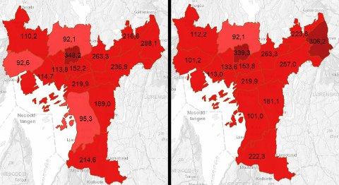 ØKT SMITTETRYKK: Kartet til venstre er fra mandag, mens kartet til høyre viser smittetrykket på tirsdag