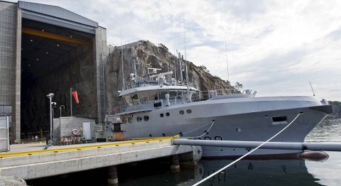 Det var KNM «Olav Tryggvason» som var innvolvert i kollisjonen søndag ettermiddag. Dette bildet av marinefartøyet blei tatt i august 2010.