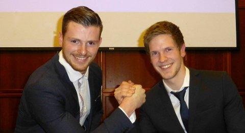Gøran Standal og Espen Vasseth delte førsteplassen i konkurransen om å bli «Årets lærling» i bygg- og anleggsbransjen på Vestlandet i 2015. FOTO: EBA VESTENFJELSKE