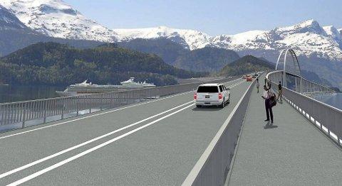 Styret i Kystvegen Bergen-Ålesund skal nå møtes og diskutere hva vedtaket i fylkesutvalget har å si for prosjektet Kystvegen Bergen - Ålesund. Her en broskisse ved Anda-Lote. ILLUSTRASJON: LMG MARINE