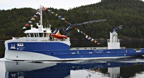 «Frøy Fighter» er det største servicefartøyet som er bygget til oppdrettsnæringen til nå i hele verden.
