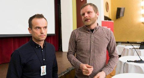 Politioverbetjent Jan Ove Landøy (til venstre) og hans gruppe har fått 64 saker om arbeidskriminalitet å etterforske 2015 som følge av A-krimenhetens innsats. Koordinator for enheten, Knut A. Lervåg, tror det vil bli flere fremover etter at politiet nå har etablert en egen gruppe som jobber med kriminalitet i arbeidslivet. FOTO: RUNE JOHANSEN