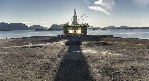 Saga Fjordbase skal driva prosjektbasen på Lutelandet. Biletet er av den første riggen som kom inn til det store industriområdet i Ytre Sogn. FOTO: BENT ARE IVERSEN