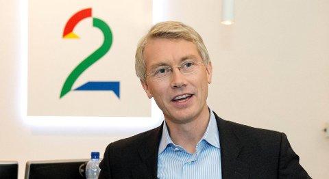 Administrerende direktør i TV 2, Olav T. Sandnes, er godt fornøyd med selskapets økonomiske prestasjoner. FOTO: MAGNE TURØY