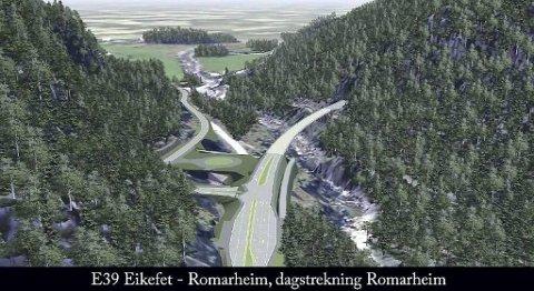Vegprosjektet Eikefet - Romarheim på E39 i Nordhordland låg inne i gjeldande NTP med 1,33 milliardar kroner. I planen for 2018-2029 er prosjektet kutta ut.