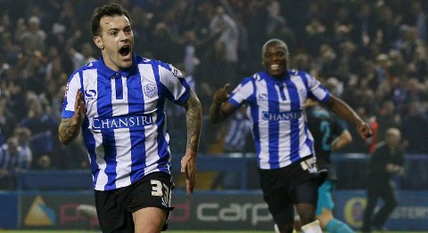 """Football - Sheffield Wednesday v Arsenal - Capital One Cup Fourth Round - Hillsborough - 27/10/15 Ross Wallace celebrates scoring the first goal for Sheffield Wednesday Action Images via Reuters / Jason Cairnduff Livepic EDITORIAL USE ONLY. No use with unauthorized audio, video, data, fixture lists, club/league logos or """"live"""" services. Online in-match use limited to 45 images, no video emulation. No use in betting, games or single club/league/player publications.  Please contact your account representative for further details."""
