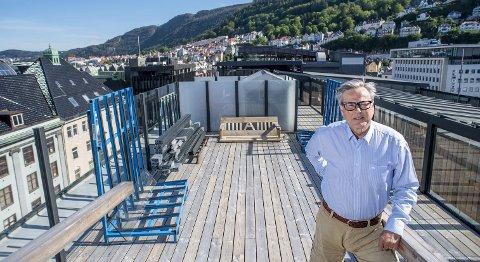 «360» skal det nye servingstilbudet på det høyeste taket på Xhibiton hete. – Dette blir byens nye storstue, sier Magic Norway-direktør Ole Warberg. FOTO: EIRIK HAGESÆTER.