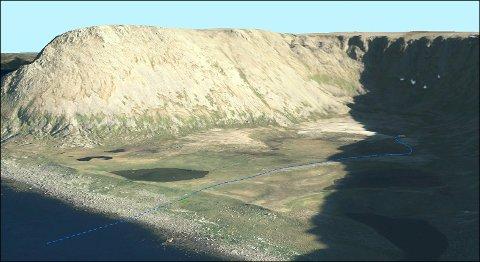 BÆRVIKA: Dette er et bilde fra da Asplan Viak AS sendte søknad på vegne av Nordkapp Vann AS for uttak av drikkevann i 2019.
