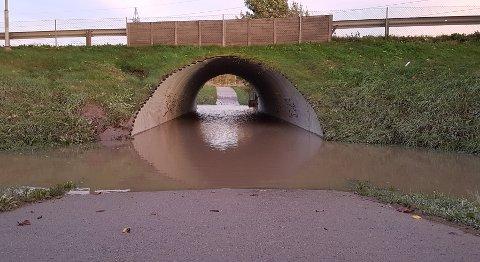 IKKE TURVENNLIG: Denne undergangen under Habornveien oversvømmes stadig, og Statens Vegvesen har foreløpig ikke noen løsning på problemet.