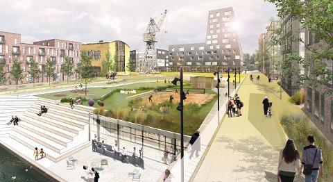 Anbefalingen er at «FMV-vest» er det første området som peker seg ut til å bli en ny bydel. Tegningen viser Jotne eiendoms planer for sitt område, der Tørrdokka er ment å bli park.  Tegning: Jotne eiendiom/alt. arkitektur as