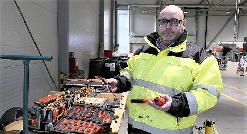 Daglig leder Fredrik Andresen hos Batteriretur leder arbeidet med storsatsingen på gjenvinning av elbilbatterier. Neste år skal bedriften ta imot batterimoduler fra elbil-batterier for gjenvinning.