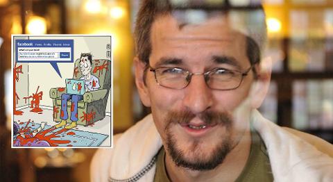 FÅR FYKEN: Lars Lauvik får ikke lengre tegne for den svenske avisen, etter det ble storm av denne tegningen.  Foto: Foto: Eirik Hagesæter