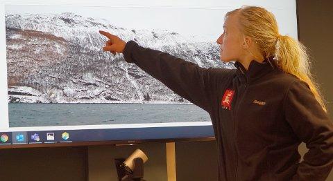 GEOLOG: Karin Bergbjørn, NVE, mener det fortsatt kan gå ras som truer bebyggelse langs Beisfjordveien.