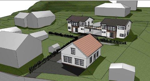 PLANER: Perspektivskisse med tre mindre boliger følger med rivesøknaden for gammel bolig i Øvre Keisemark 30.