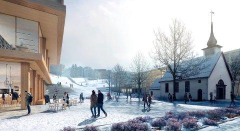 GODT ARBEID: KOHT Arkitekter har fått DOGA-merket nykommer 2017 for «NTNU – Veien videre». Her fra Døveparken. Illustrasjon: Beauty and the Bit