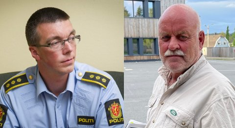 Politiinspektør Terje Didriksen (t.v.) og pensjonert lensmann Svein Engen.