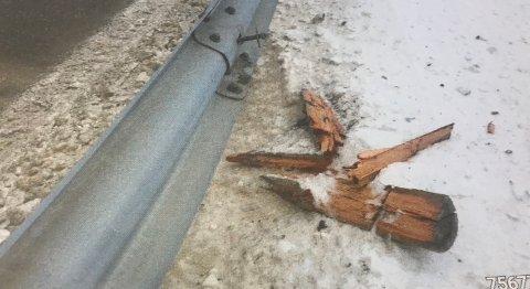 SKADE: Et skilt som lå igjen avslørte hvem som hadde stått for denne skaden.