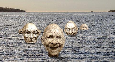 SMIL OG GLEDE: Slik ser selskapet Smilende Kunst for seg skulpturene til kunstner Bruce Naigles på Sjøbadet. Hvert hode blir cirka 1,5 meter høyt og skal støpes i bronse. (Fotomontasje fra saksfremlegget). SVEIP TIL HØYRE FOR FLERE BILDER