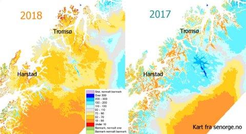 Her kan man se forskjellen i snømende fra 2017 til 2018. Illustrasjon: Meteorologisk institutt
