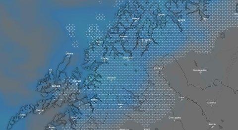 SNØ OG KULDE: Gradestokken skal vise minus og bygene kommer ned som snø, varsler meteorologen.