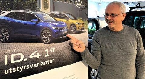 KOMMUNEBIL?: Til sommeren kommer firehjulstrekkeren ID.4. VW-forhandler Robert Gjerdalen tror denne modellen vil overta mye av rollen VW Caddy har hatt. FOTO: INGVAR SKATTEBU